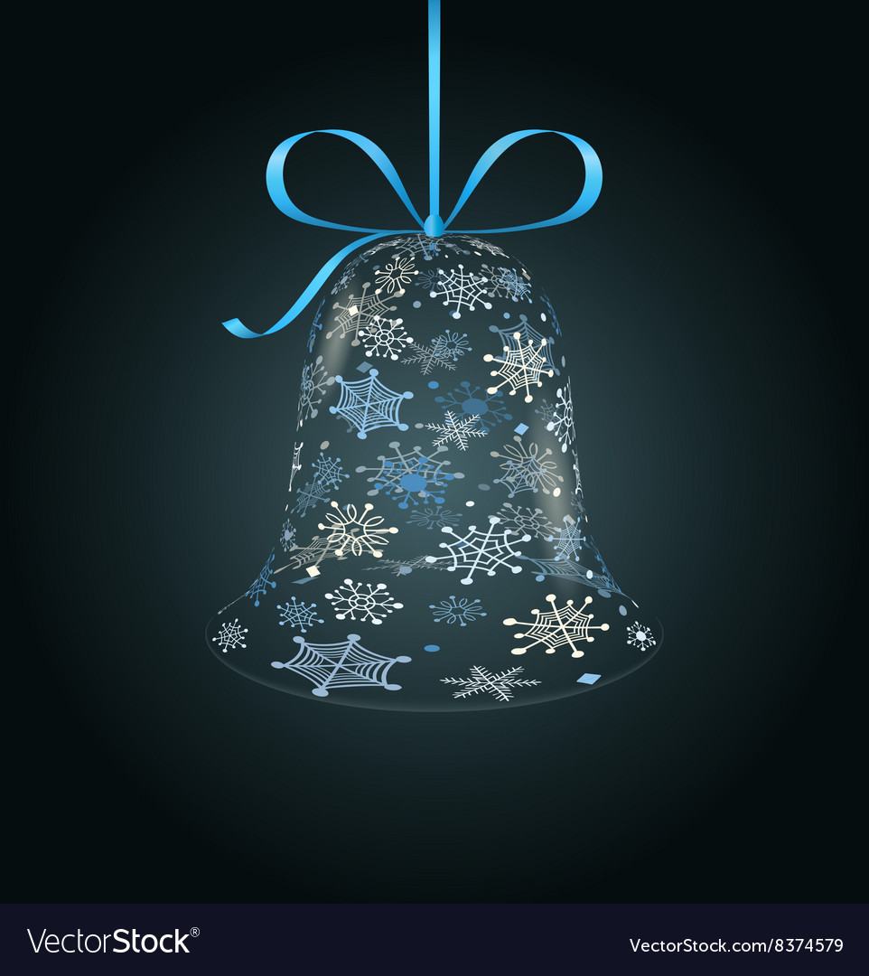 Hanging christmas bell made of snowflakes vector
