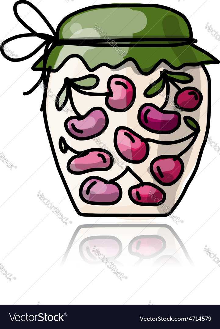 Jar with cherry jam sketch for your design vector
