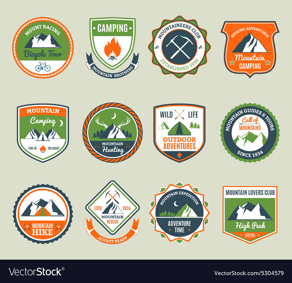 Mountain adventure emblems vector