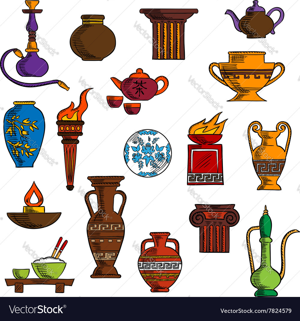 Various vases jugs containers and kitchenware vector
