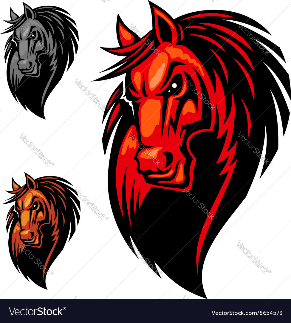 Wild angry horse head mascot vector