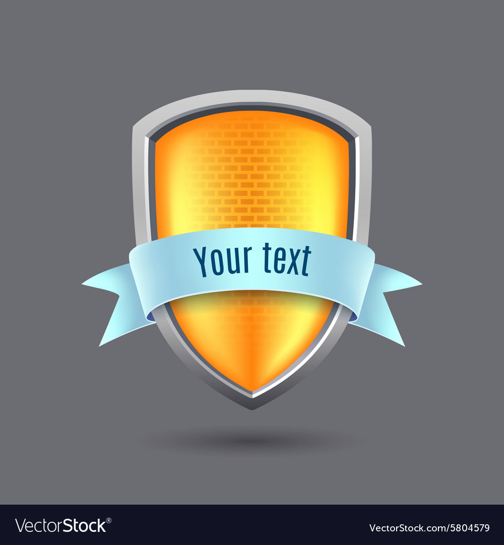 Yellow glossy metal shield on gray background vector
