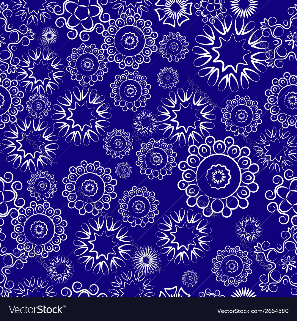 Repeating pattern of lacy flowers on a blue vector