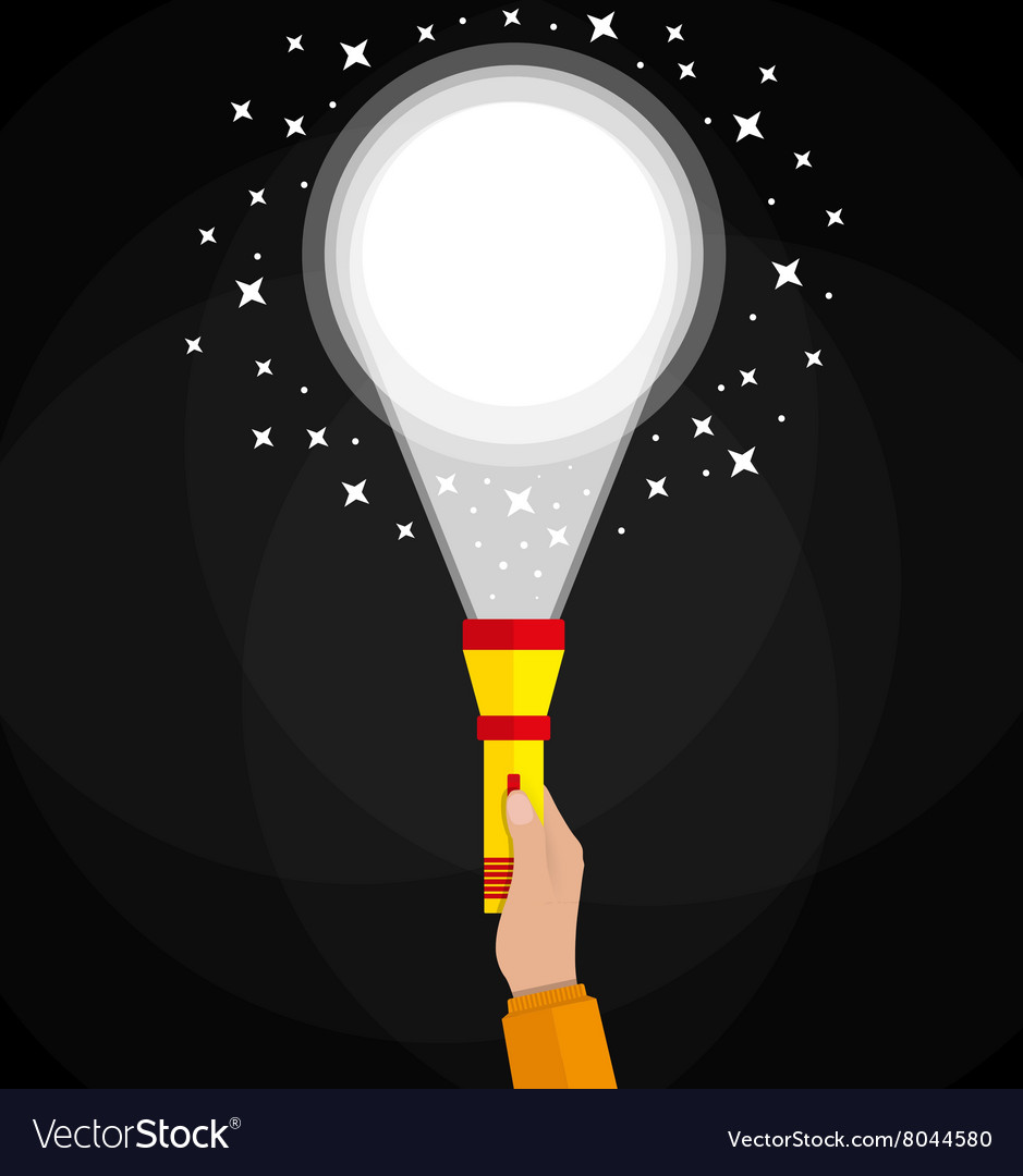 Simple flashlight and hand vector