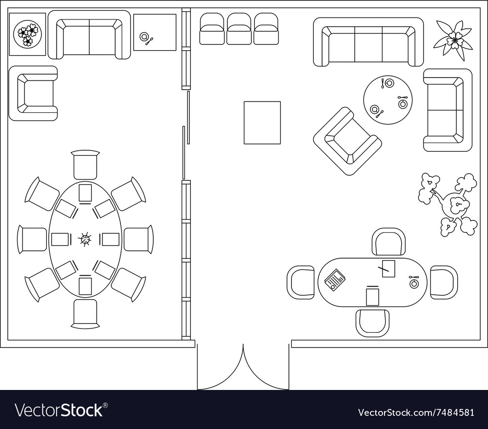 Architectural set of furniture design elements vector