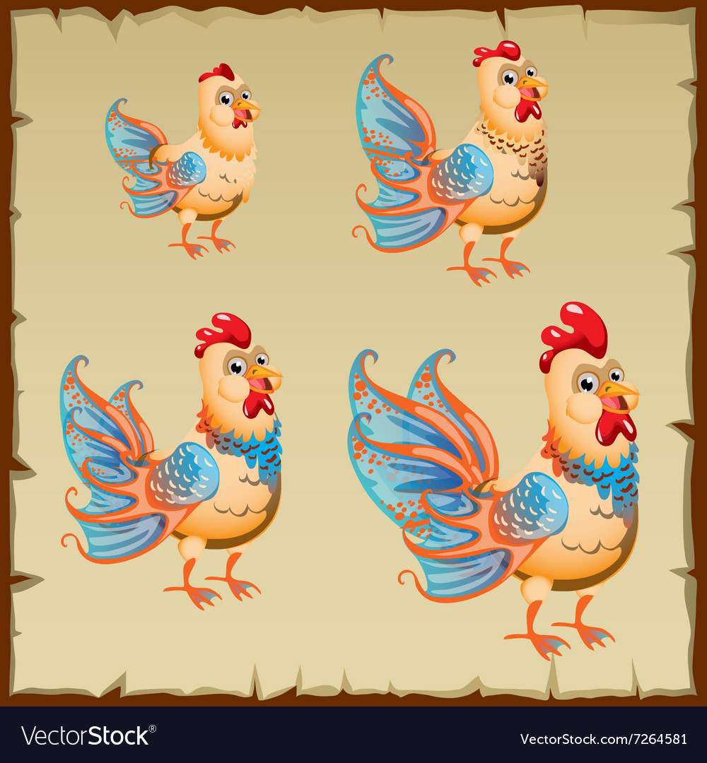 Cute yellow rooster with big blue tail vector