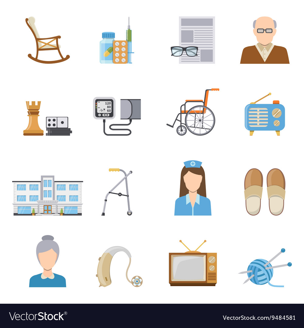 Elderly care in nursing home icons vector
