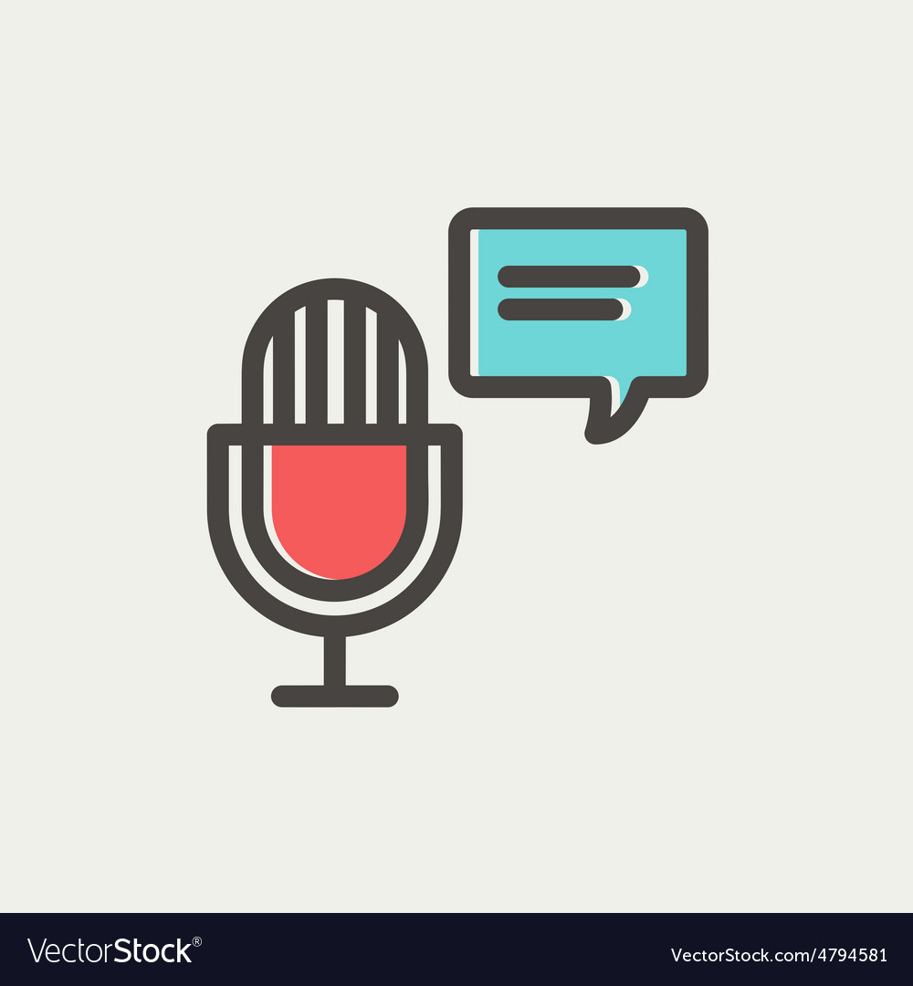 Microphone with speech bubble thin line icon vector
