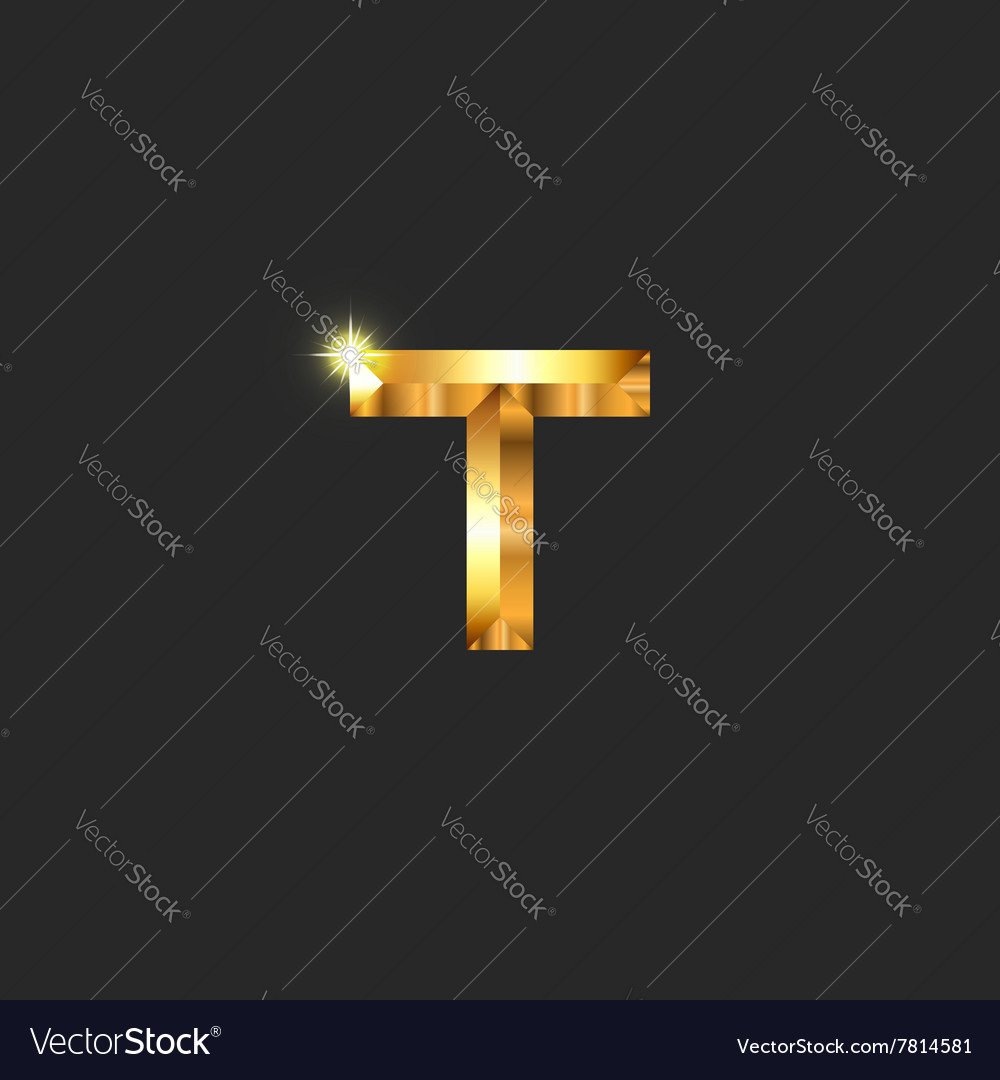 Modern luxury golden letter t logo mockup vector