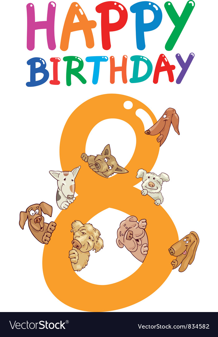 Eighth birthday anniversary card vector