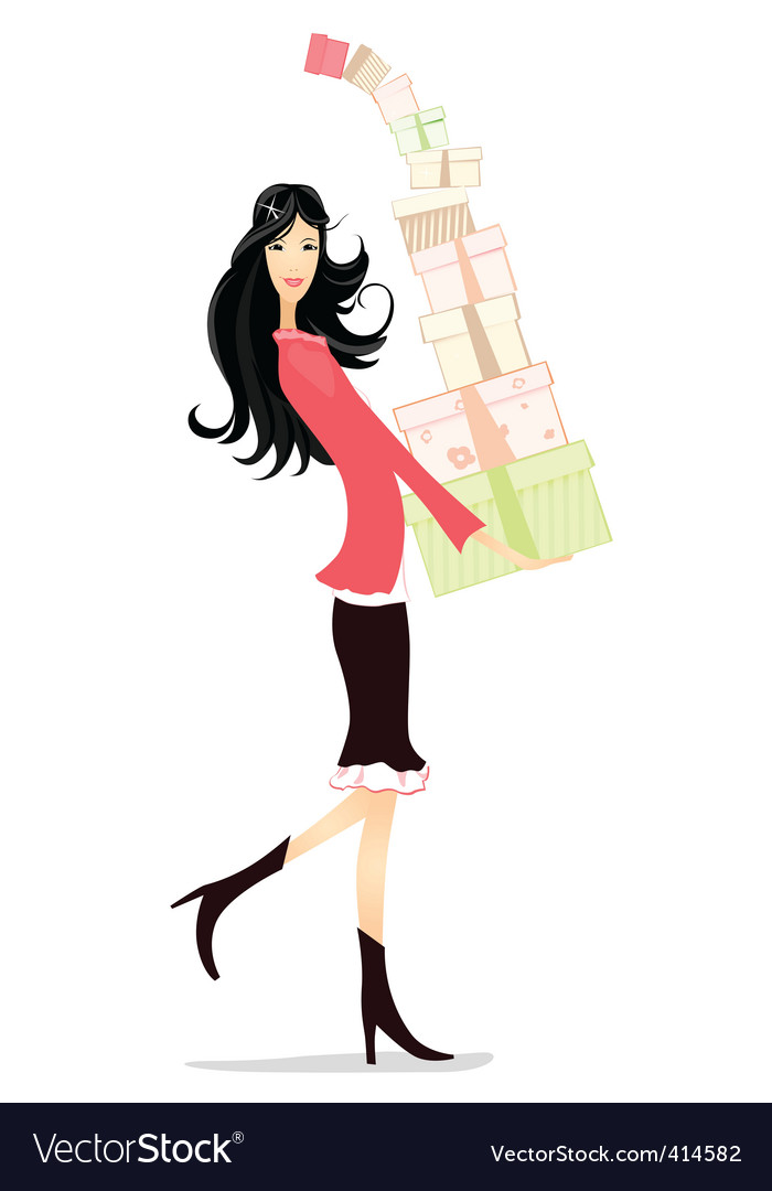 Girl gifts vector