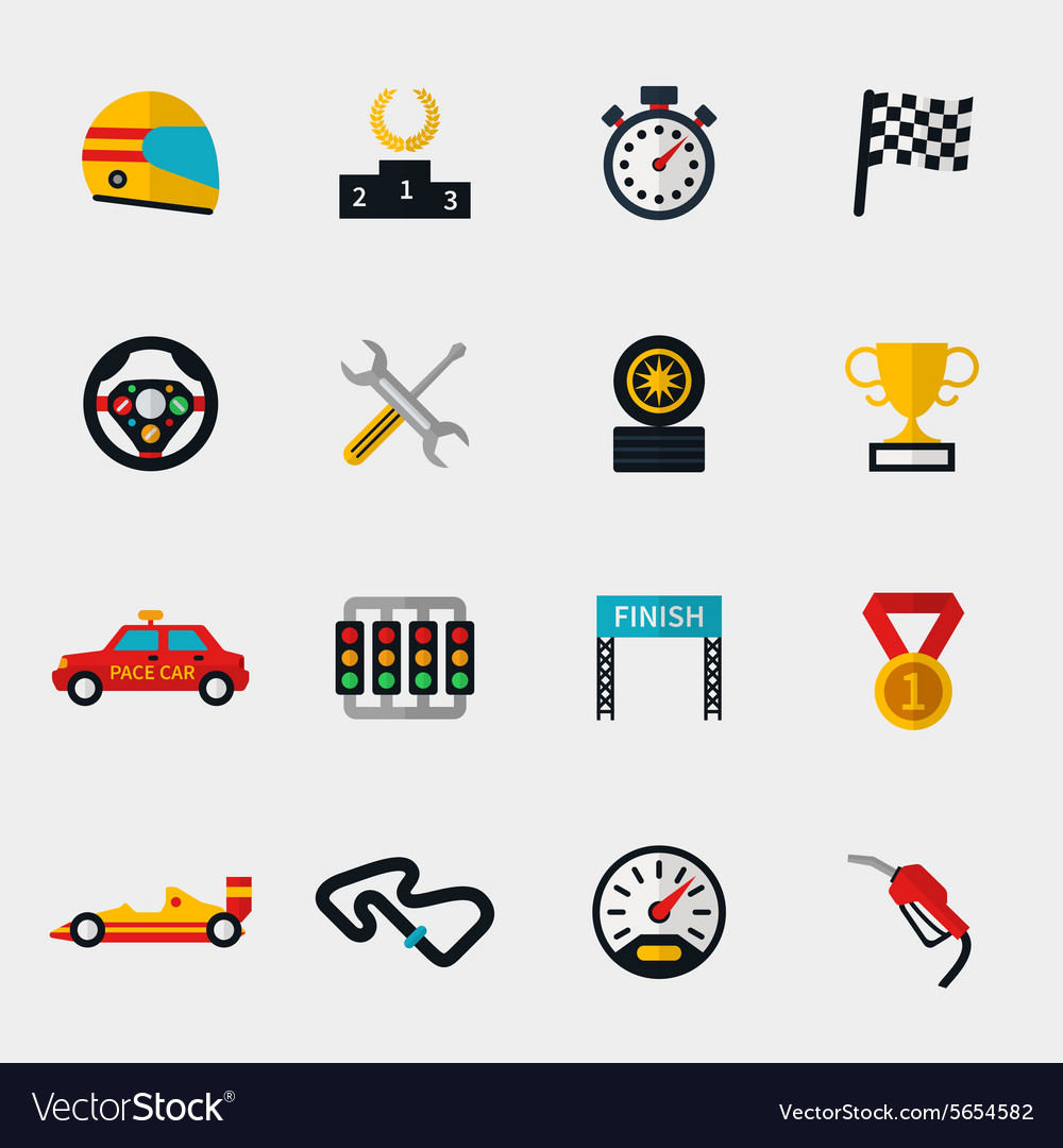 Race car track and racing flag modern flat icons vector