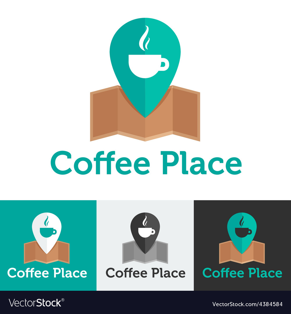 Flat coffee shop or cafe logo set vector