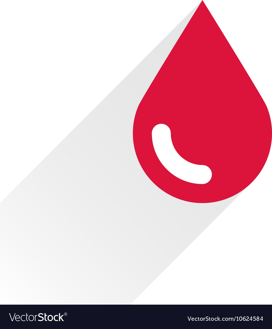 Red color drop icon with gray long shadow vector