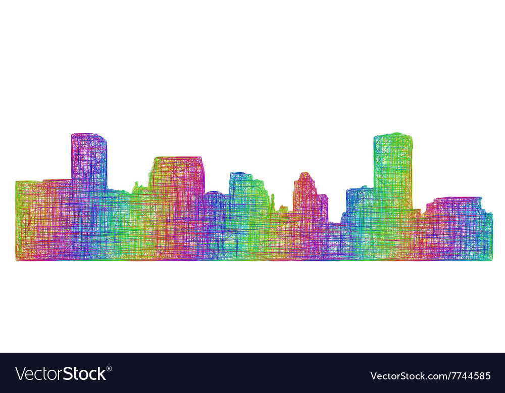 Baltimore skyline silhouette  multicolor line art vector