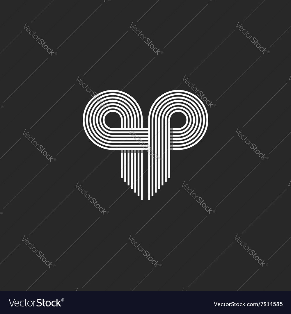 Modern logo initials qp letter together thin vector