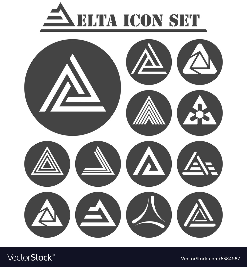Delta letter icons set vector