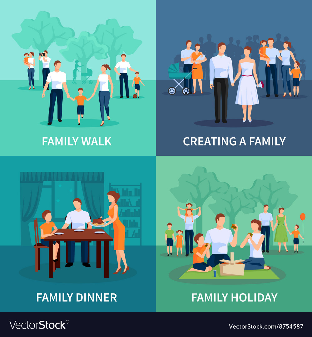 Family concept icons set vector