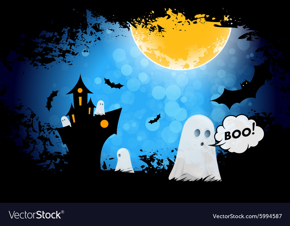 Grungy halloween background with ghosts vector
