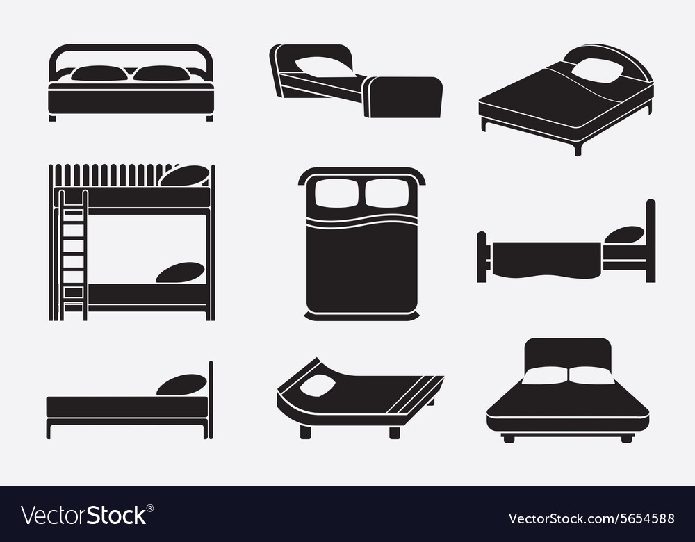 Bed icons set vector
