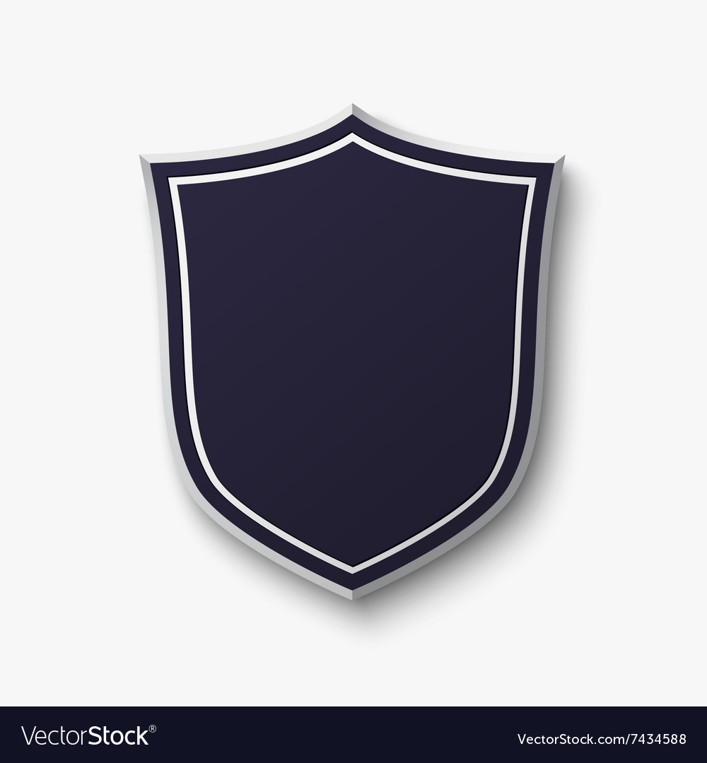 Blank blue shield isolated on white background vector