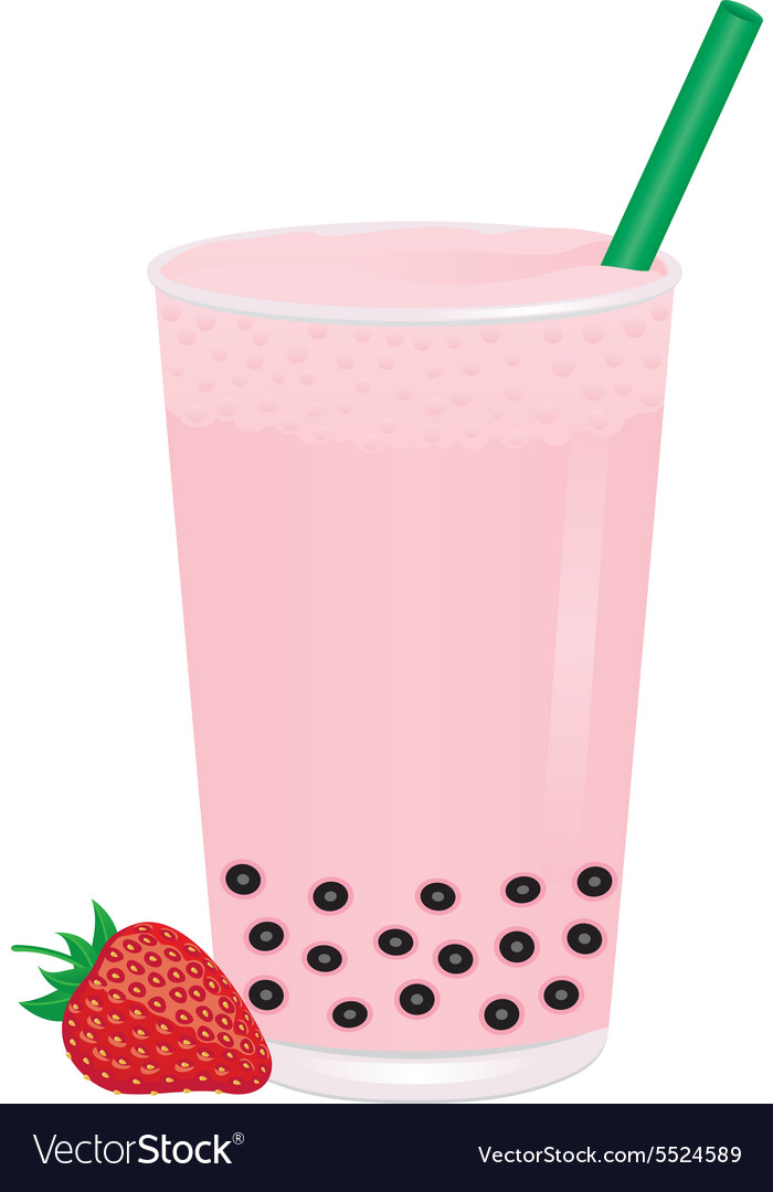 Glass of bubble milk tea with strawberry vector