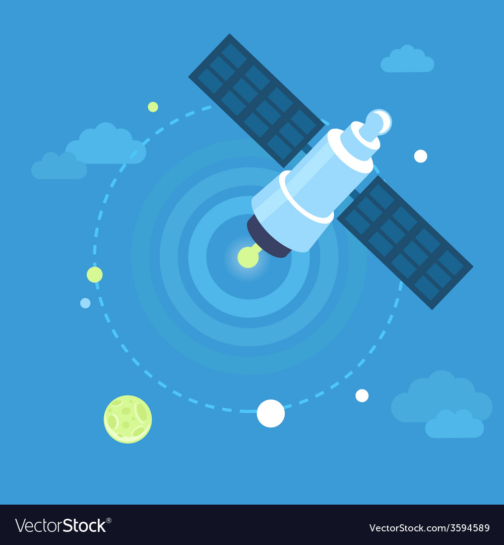 Satellite concept in flat style vector