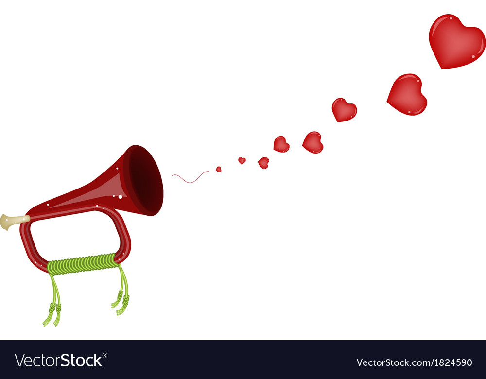 A musical bugle blowing a lovely heart vector
