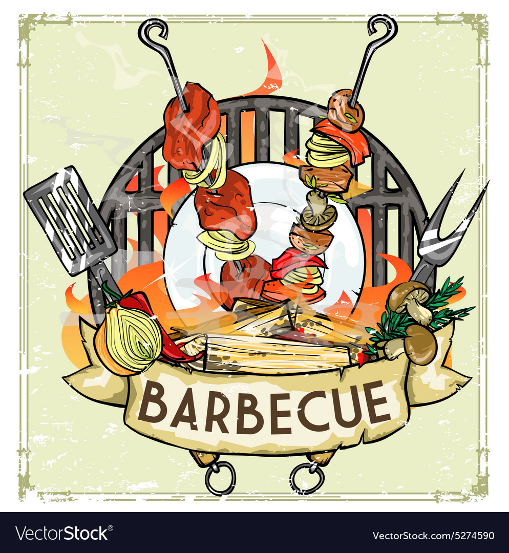 Bbq grill label design  with vector