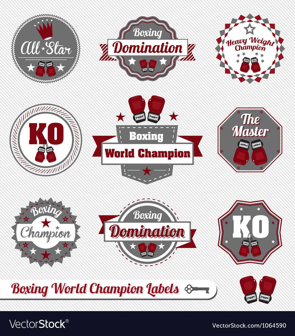 Boxing world champion labels vector