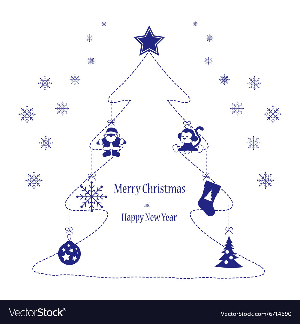Christmas toys blue on the tree vector