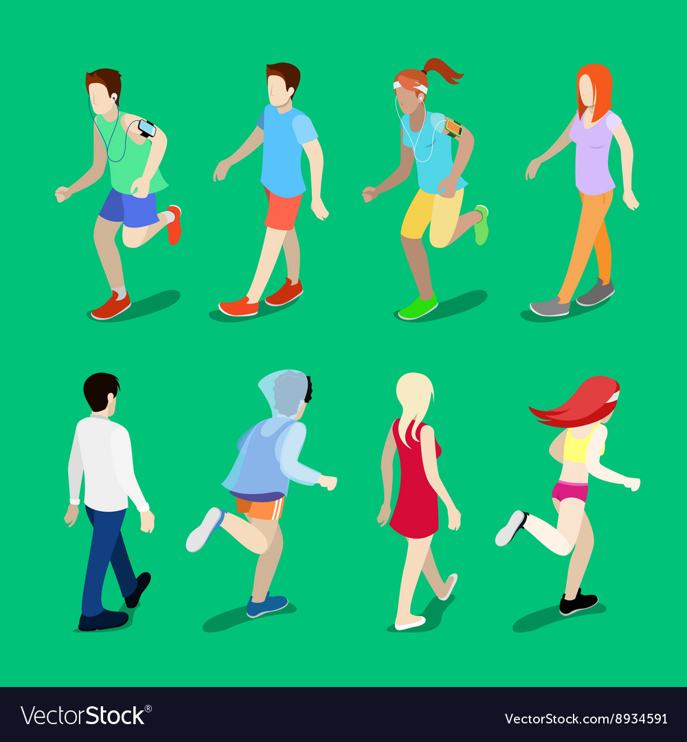 Isometric people running man running woman vector