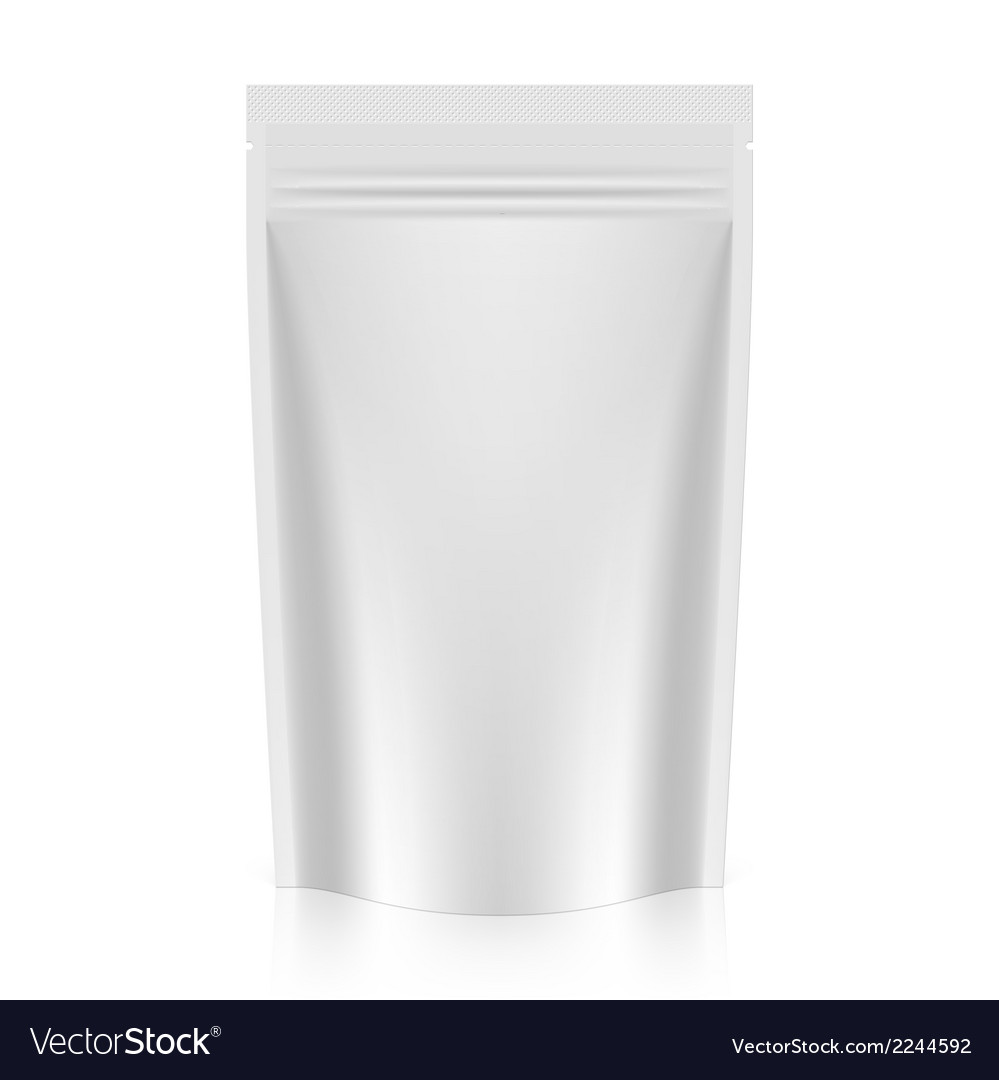 Blank stand up pouch foil or plastic packaging vector