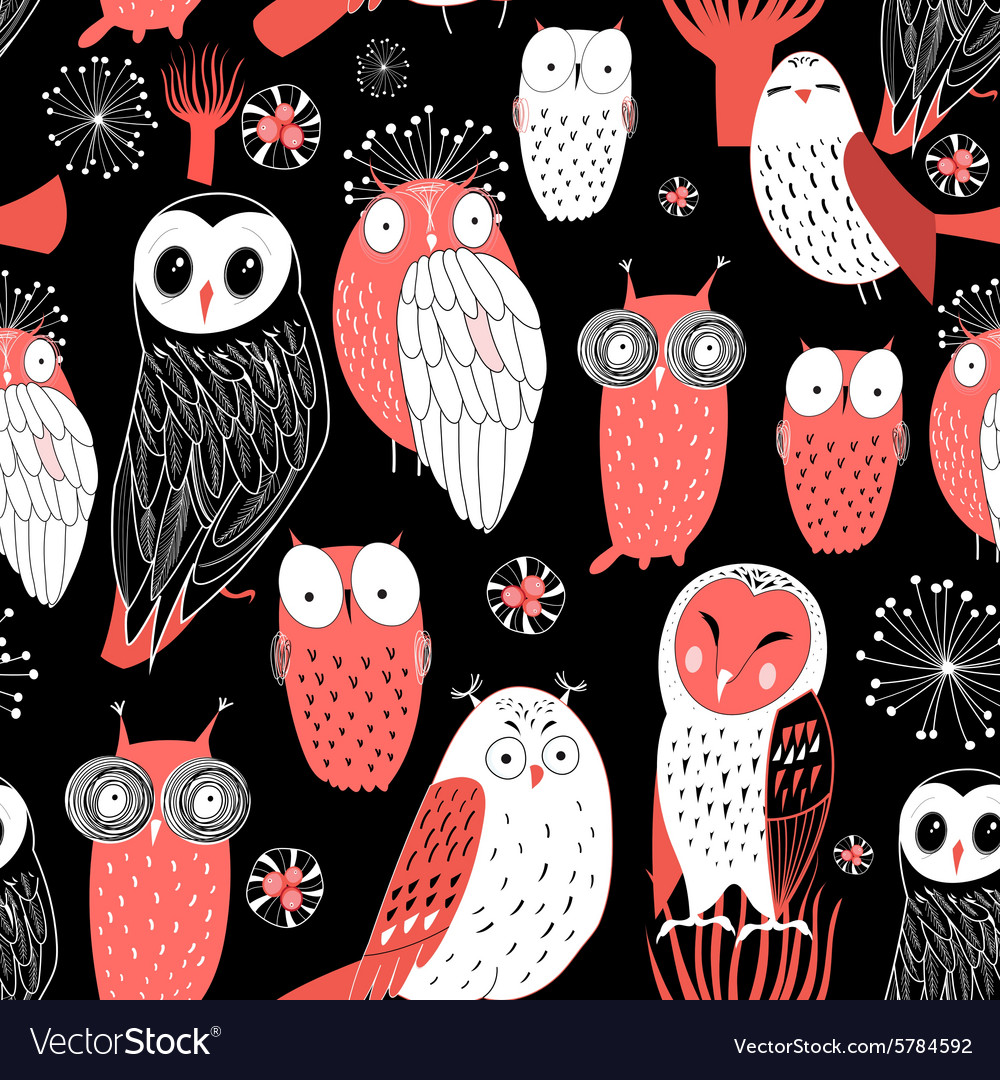 Pattern different owls vector