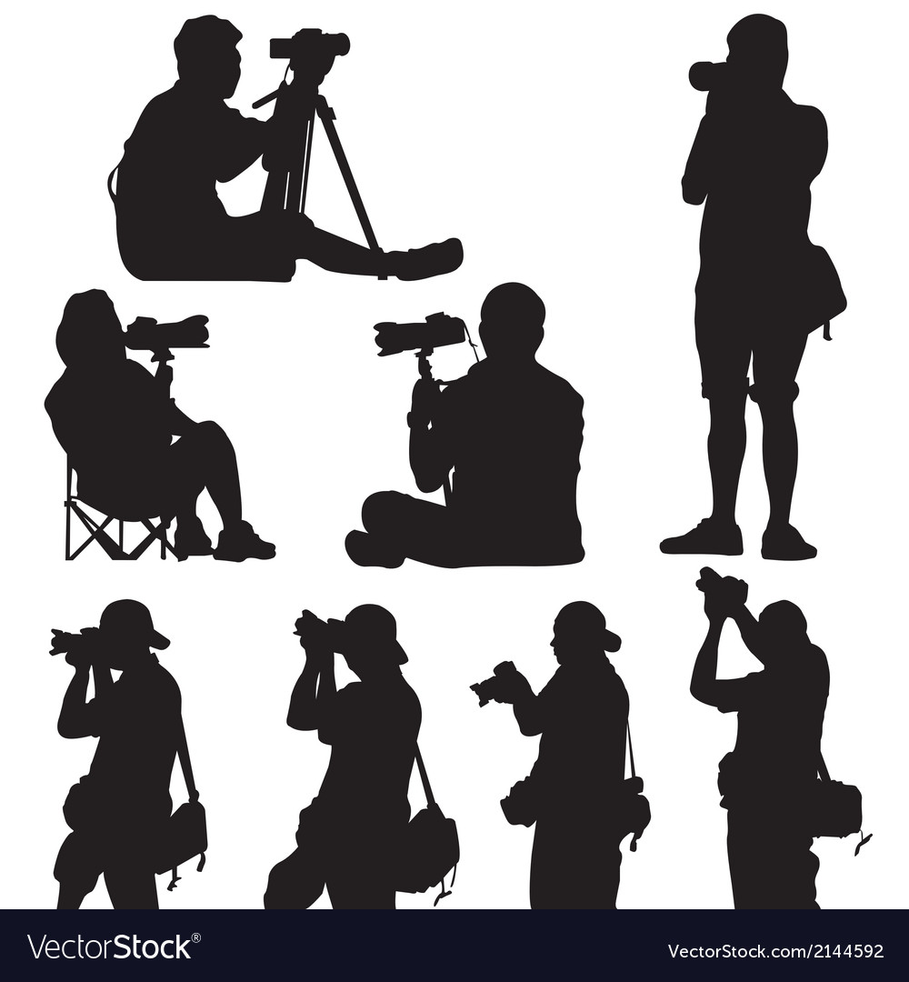 Silhouette of photographer vector