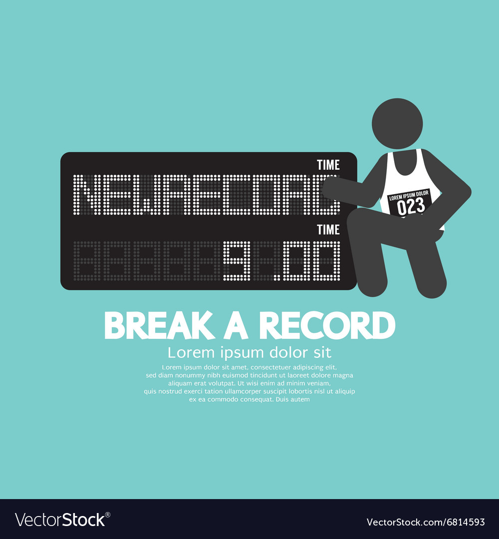 Athlete with break a record banner vector