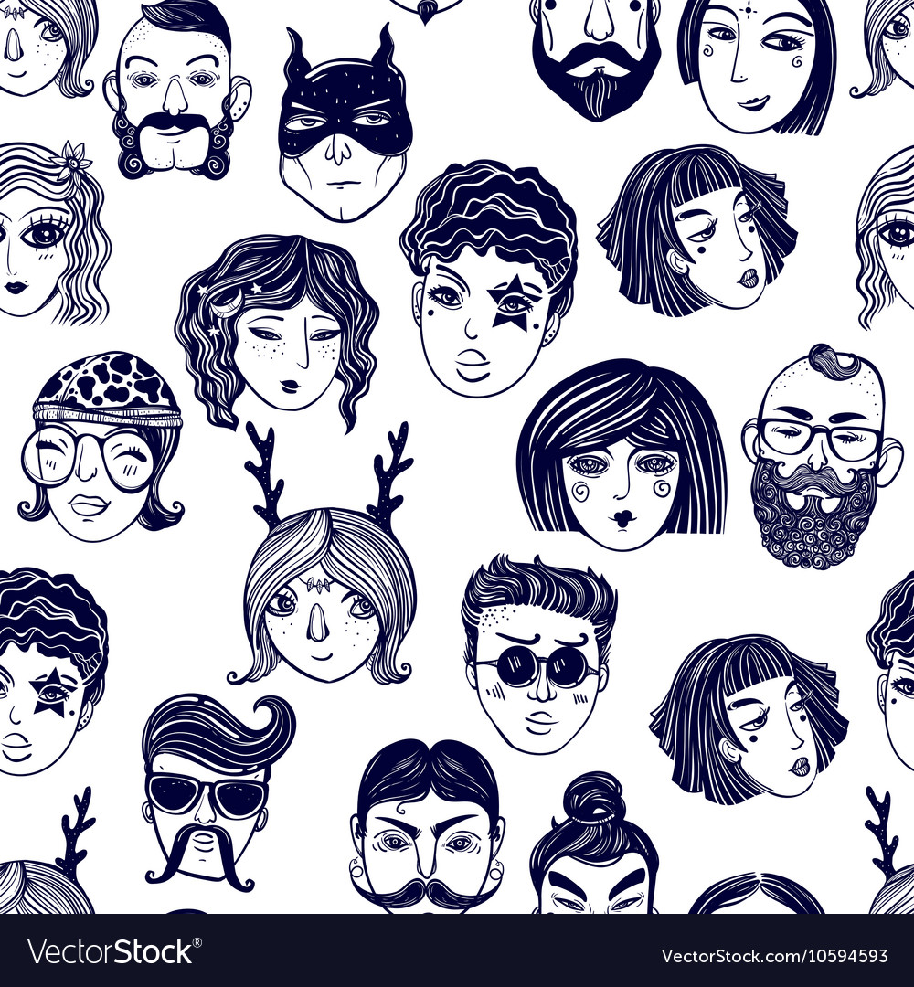 Doodle seamless pattern of a diverse people faces vector