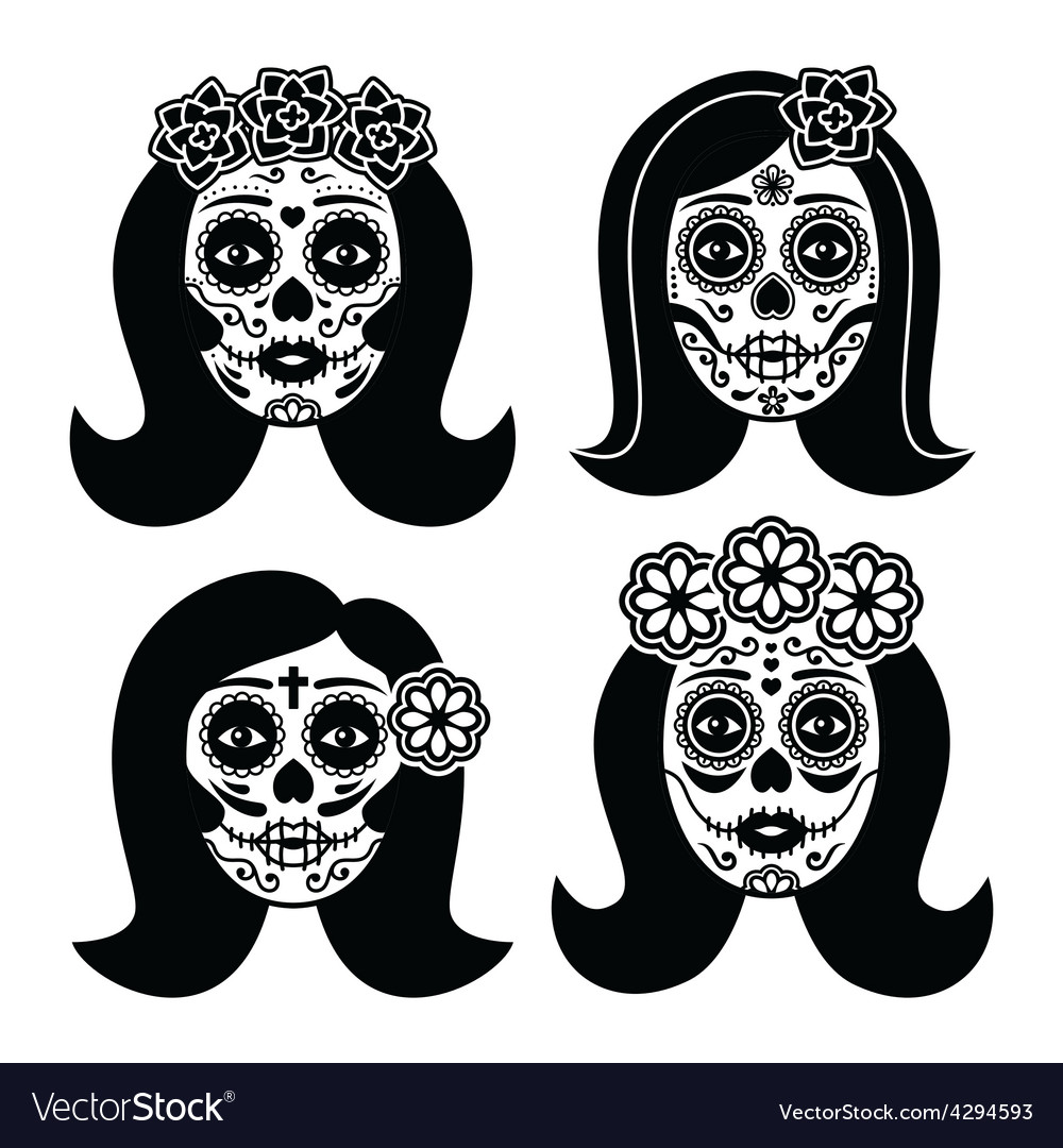 Mexican la catrina  day of the dead girl skull vector