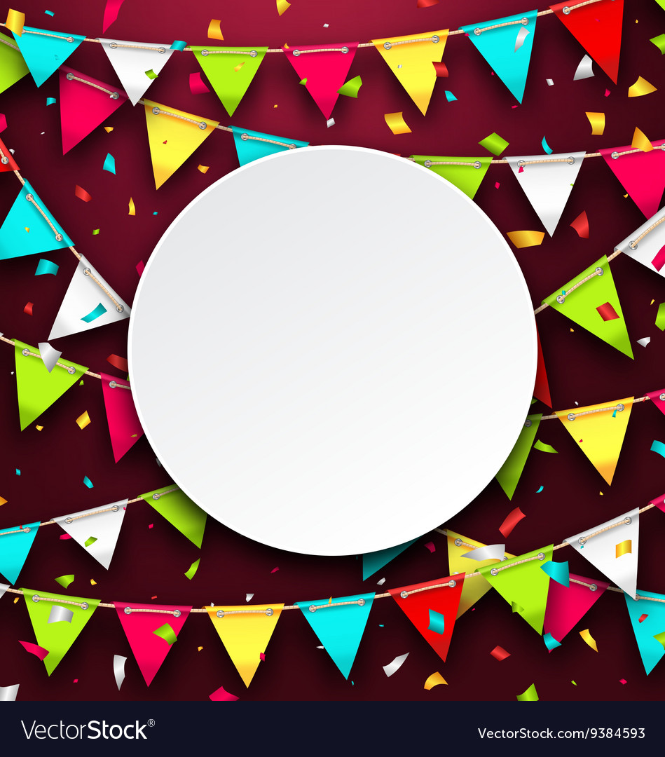 Party background with clean card colorful bunting vector