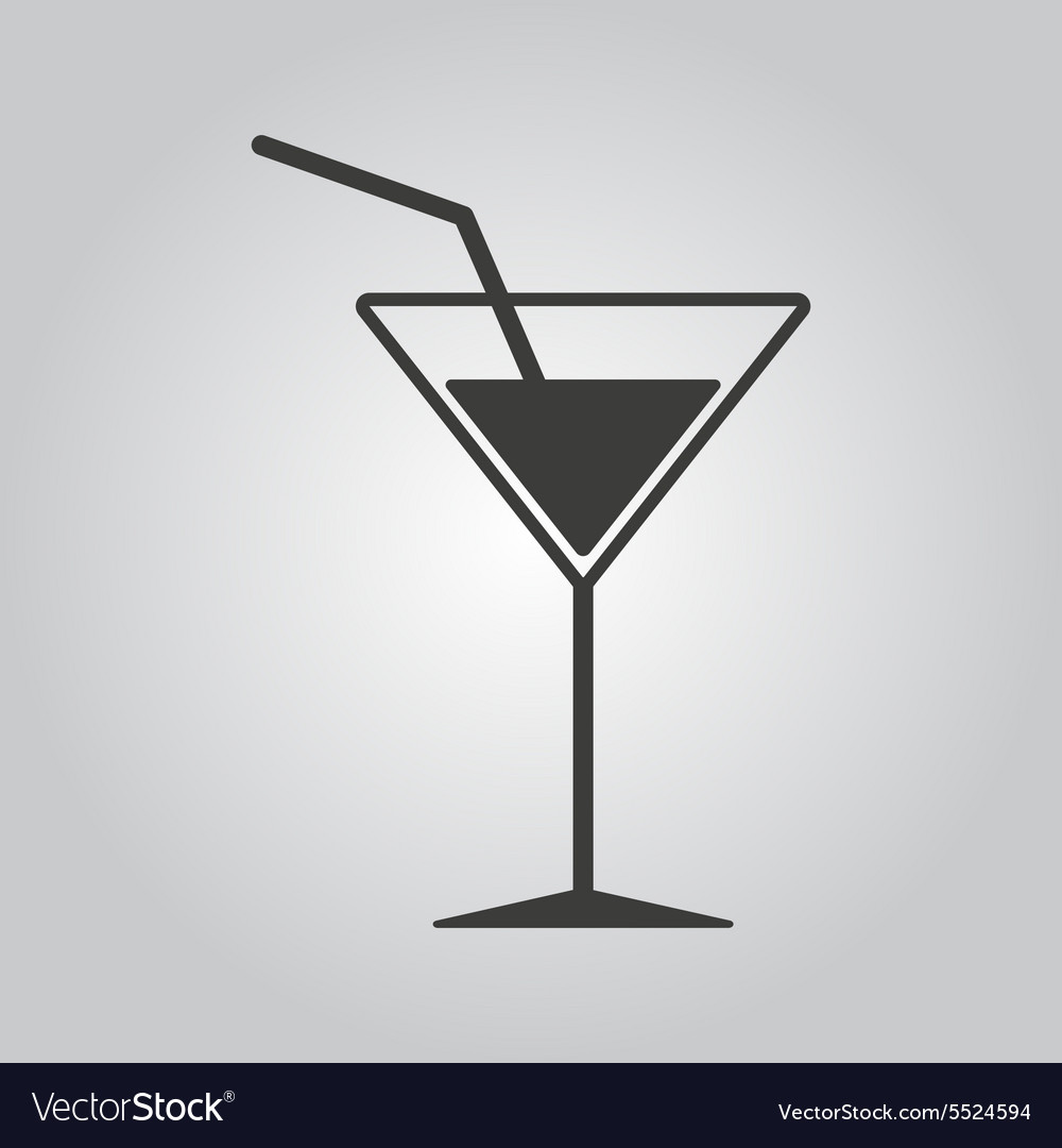 Cocktail icon drink and party alcohol symbol vector