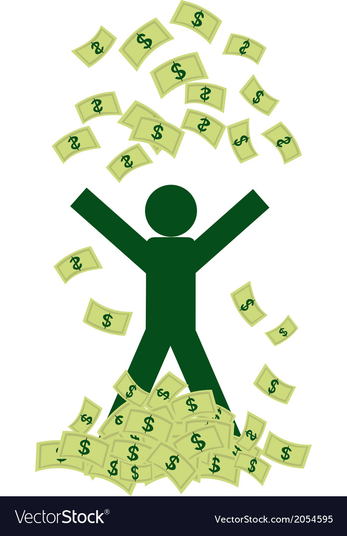 Rich man with money vector