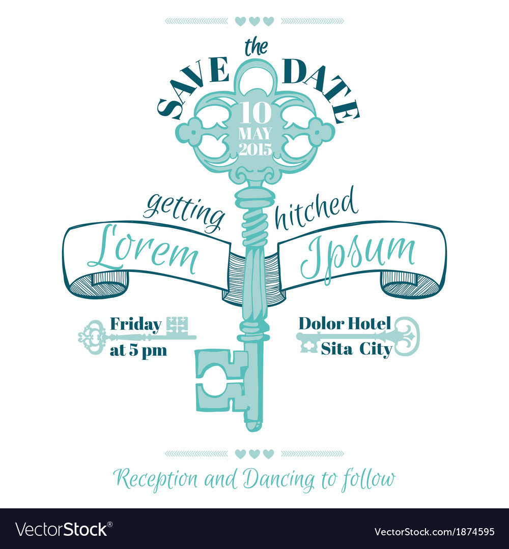 Wedding vintage invitation card  key theme vector