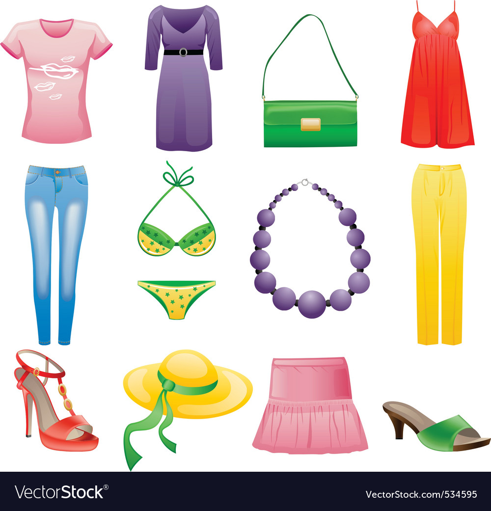 Womens clothes and accessories vector