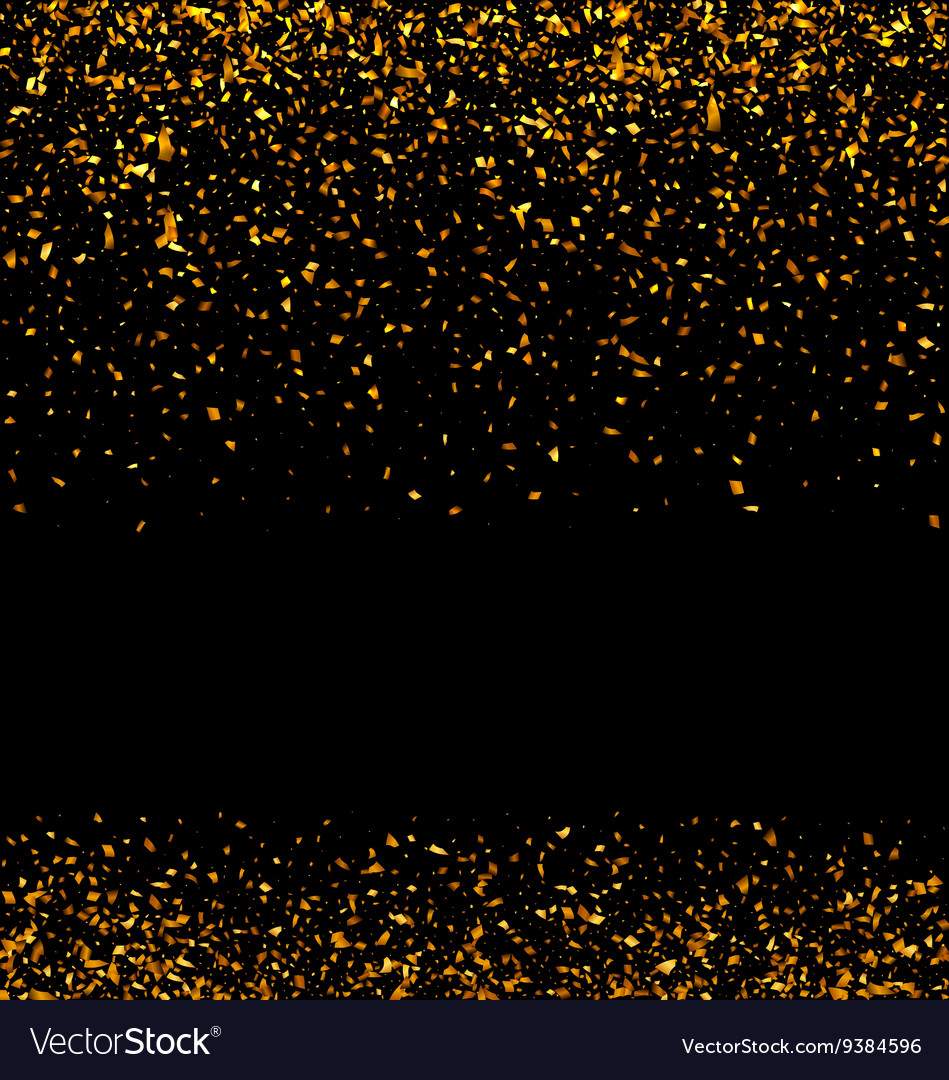 Golden glitter texture on black background vector