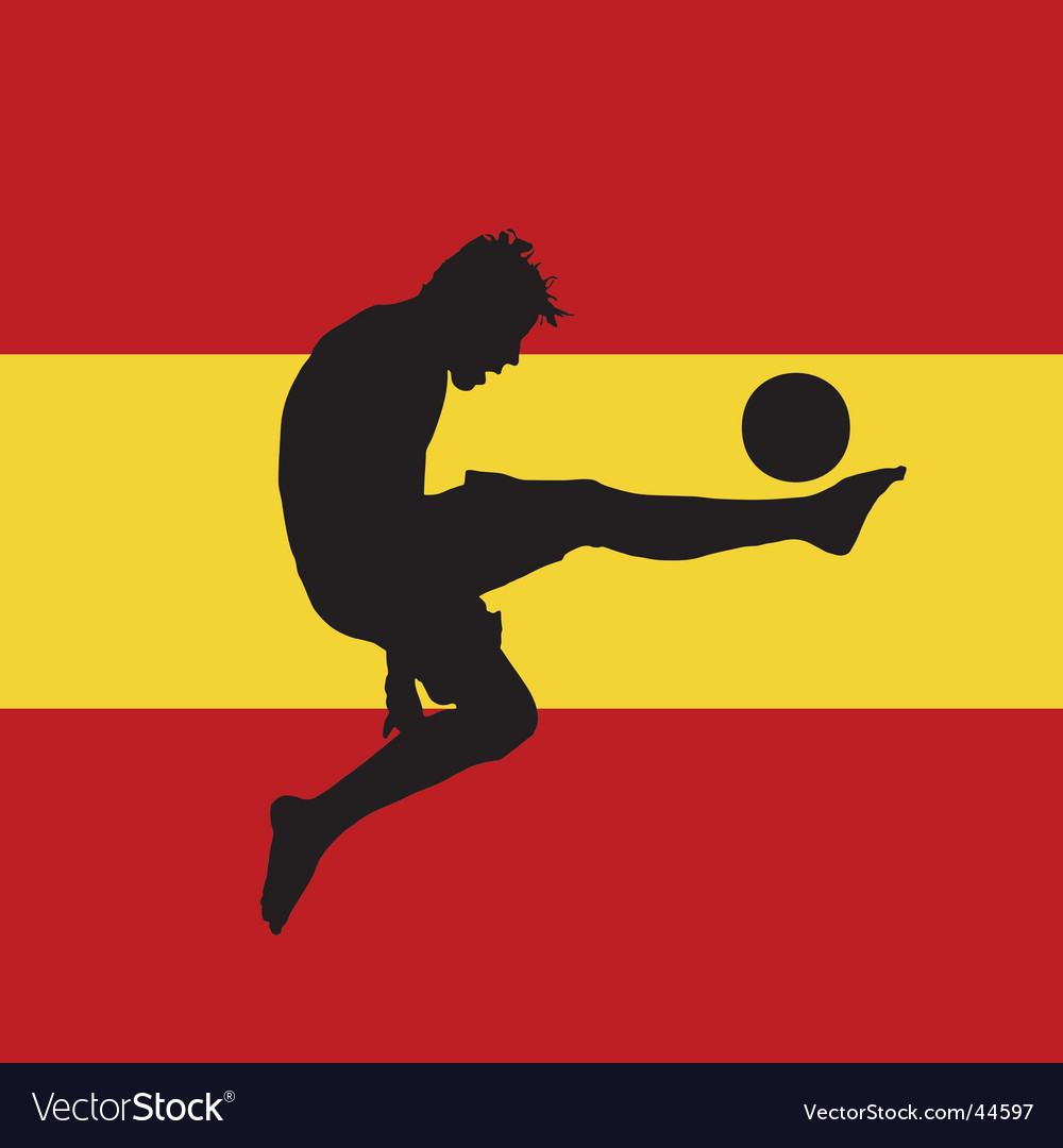Football player with spanish flag vector