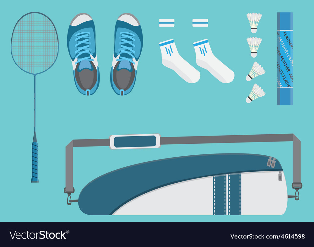 Badminton equipments flat graphic vector