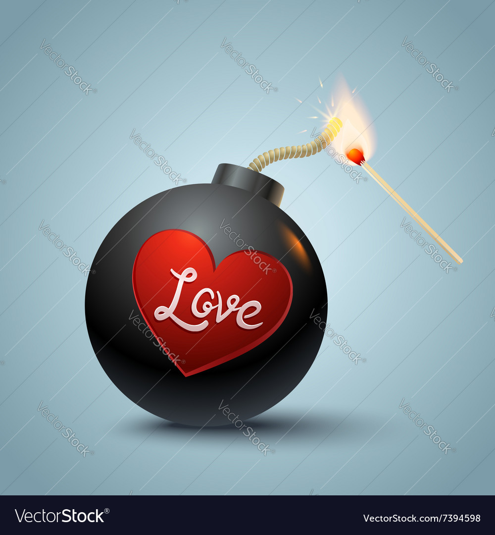 Bomb global and heart vector