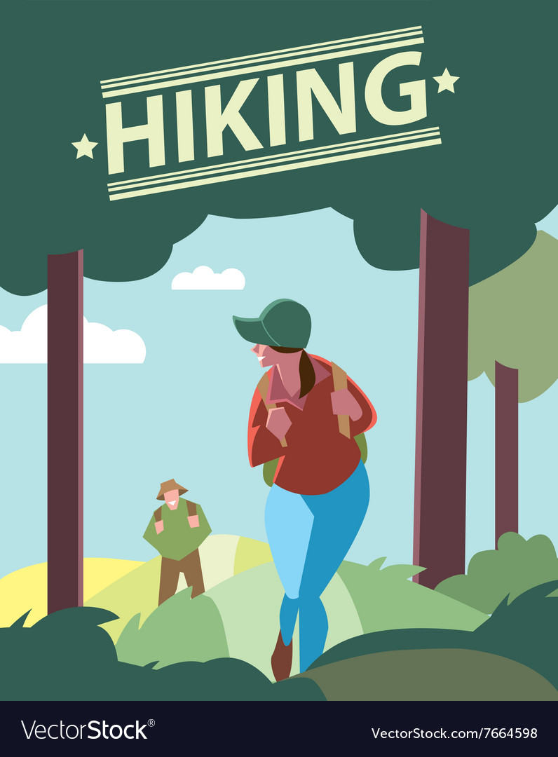 Hikers walking in outdoor vector