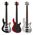Electric bass guitars vector image