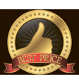 Best price label with thumb up and red ribbon vector image vector image